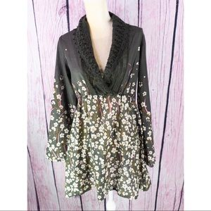 Johnny Was Green Lace Tunic Top/Dress Floral